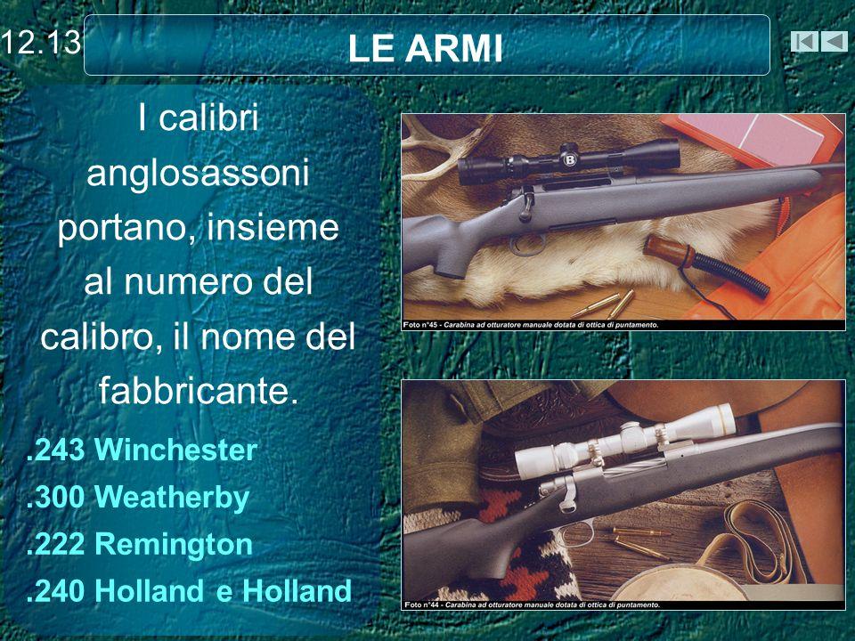 I calibri anglosassoni portano, insieme al numero del calibro, il nome del fabbricante..243 Winchester.300 Weatherby.222 Remington.240 Holland e Holland LE ARMI 12.13