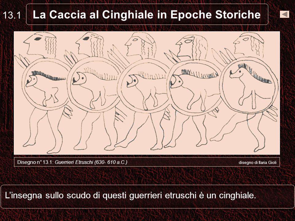 Linsegna sullo scudo di questi guerrieri etruschi è un cinghiale.