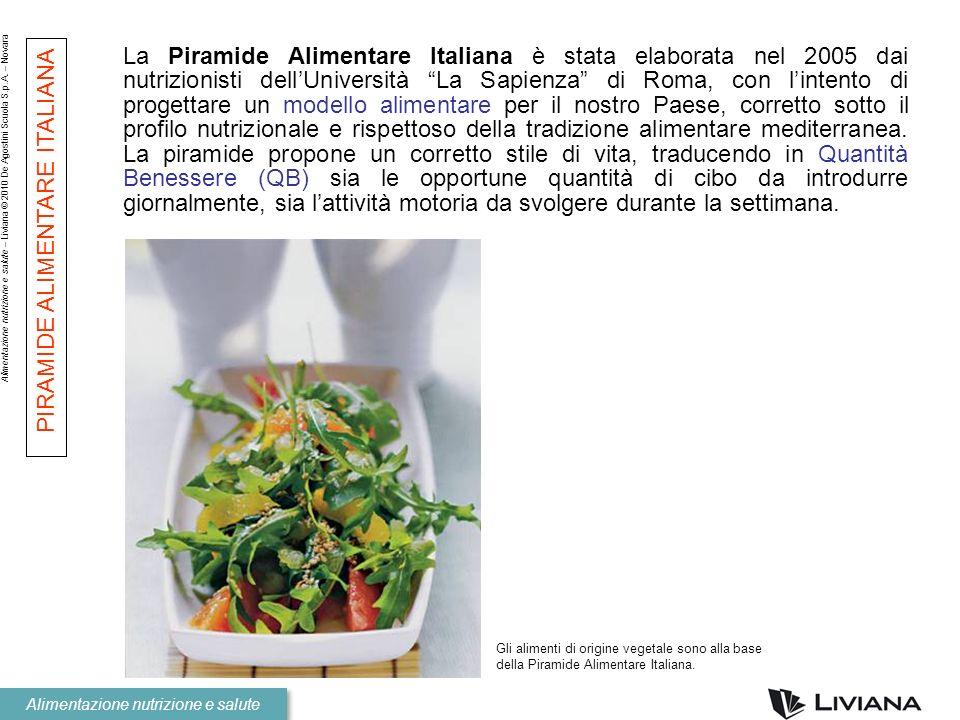Alimentazione nutrizione e salute – Liviana © 2010 De Agostini Scuola S.p.A. – Novara Alimentazione nutrizione e salute La Piramide Alimentare Italian