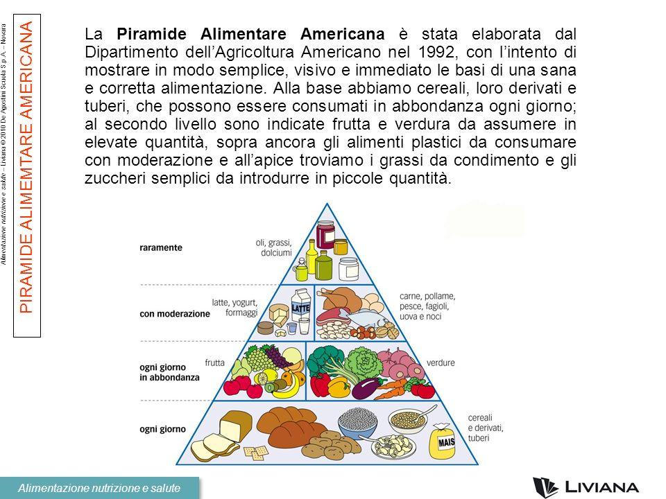Alimentazione nutrizione e salute – Liviana © 2010 De Agostini Scuola S.p.A. – Novara Alimentazione nutrizione e salute La Piramide Alimentare America