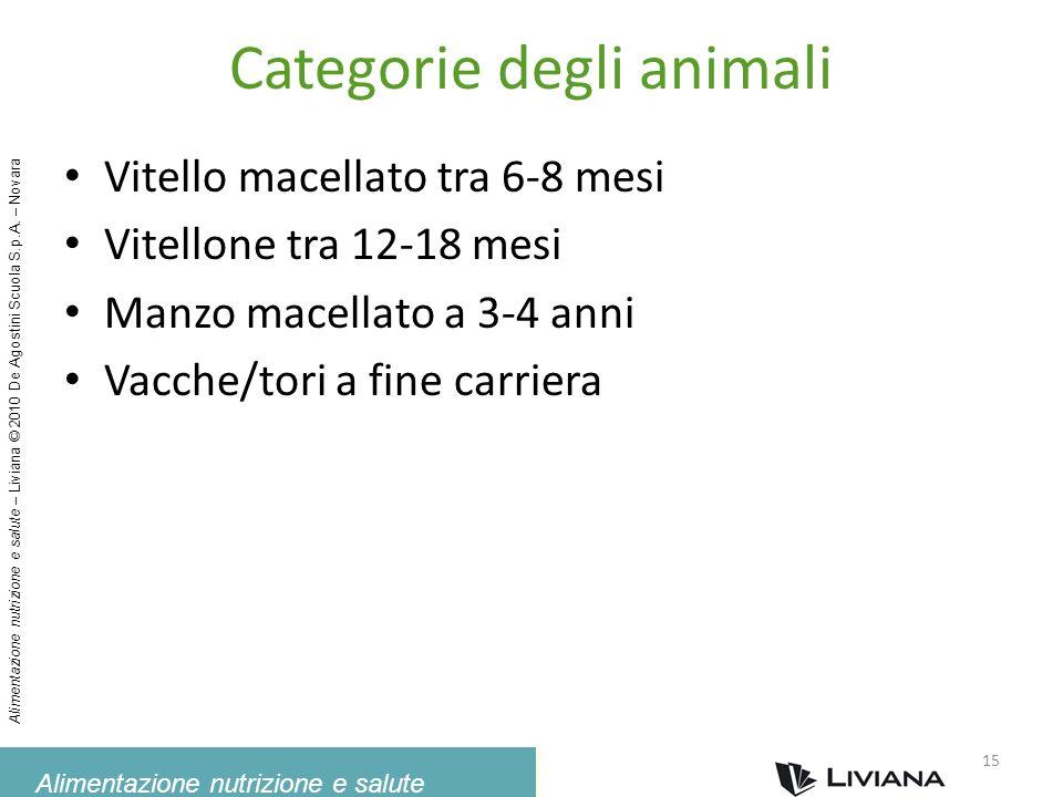 Alimentazione nutrizione e salute Alimentazione nutrizione e salute – Liviana © 2010 De Agostini Scuola S.p.A. – Novara Categorie degli animali Vitell