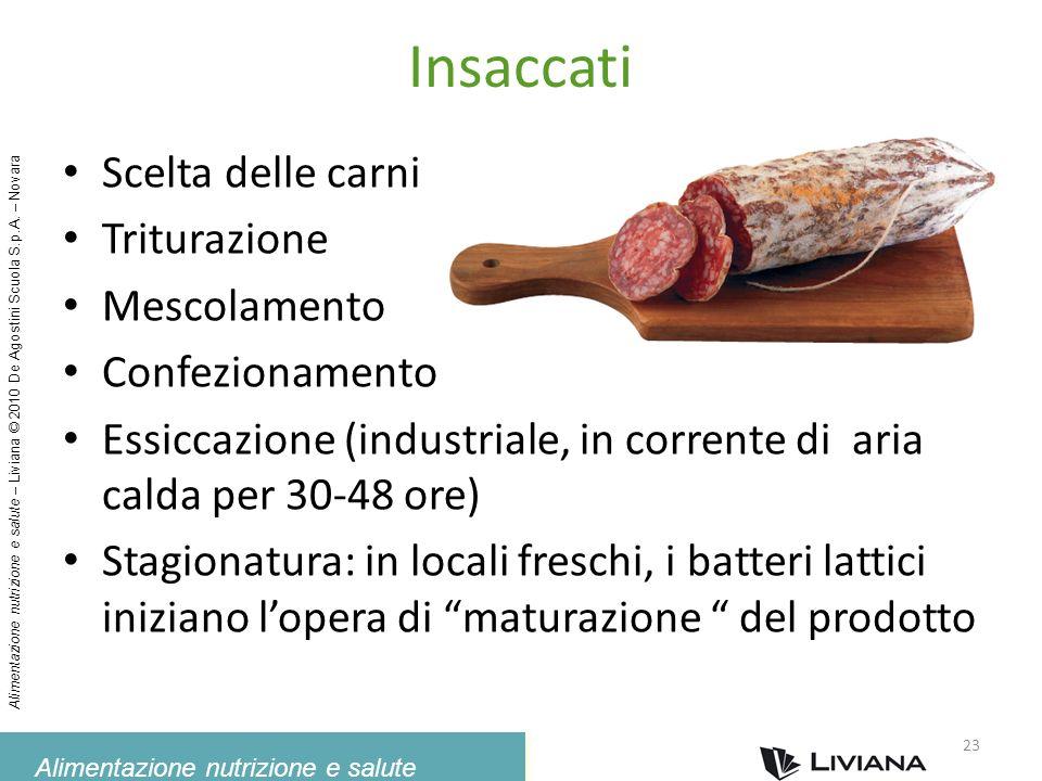 Alimentazione nutrizione e salute Alimentazione nutrizione e salute – Liviana © 2010 De Agostini Scuola S.p.A. – Novara Insaccati Scelta delle carni T