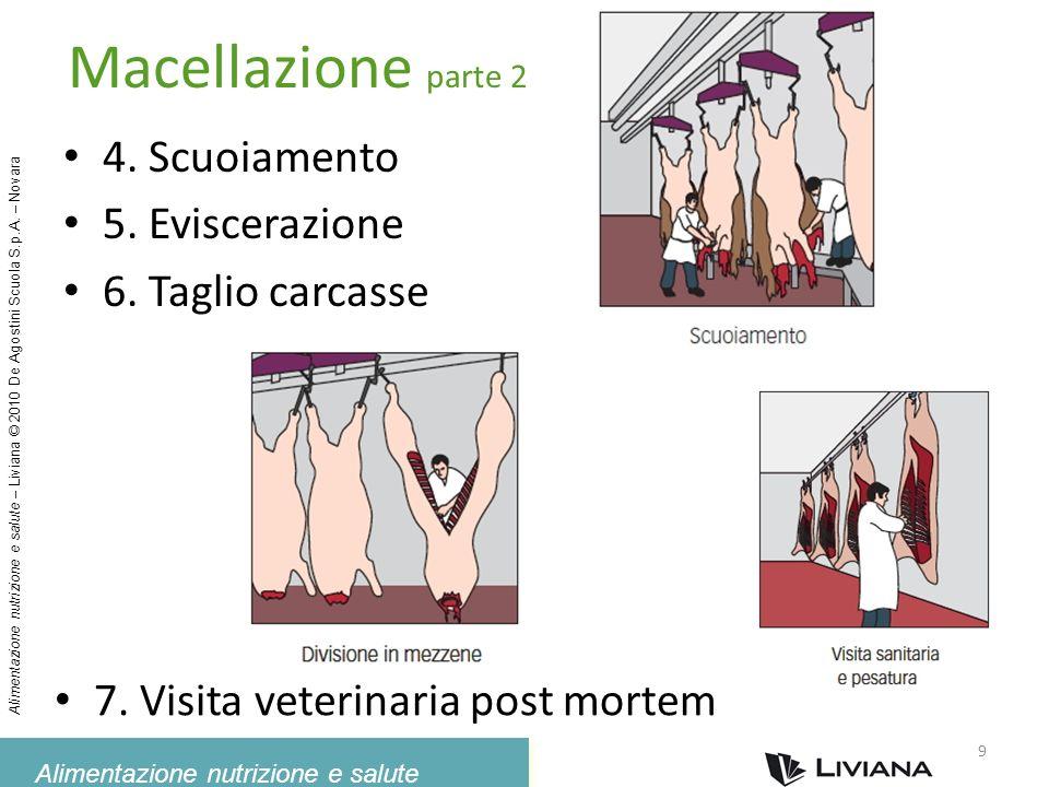 Alimentazione nutrizione e salute Alimentazione nutrizione e salute – Liviana © 2010 De Agostini Scuola S.p.A. – Novara 9 Macellazione parte 2 4. Scuo