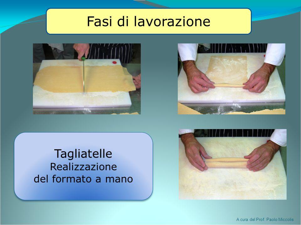 A cura del Prof. Paolo Miccolis Fasi di lavorazione Tagliatelle Realizzazione del formato a mano