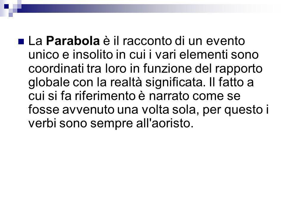 La Parabola è il racconto di un evento unico e insolito in cui i vari elementi sono coordinati tra loro in funzione del rapporto globale con la realtà