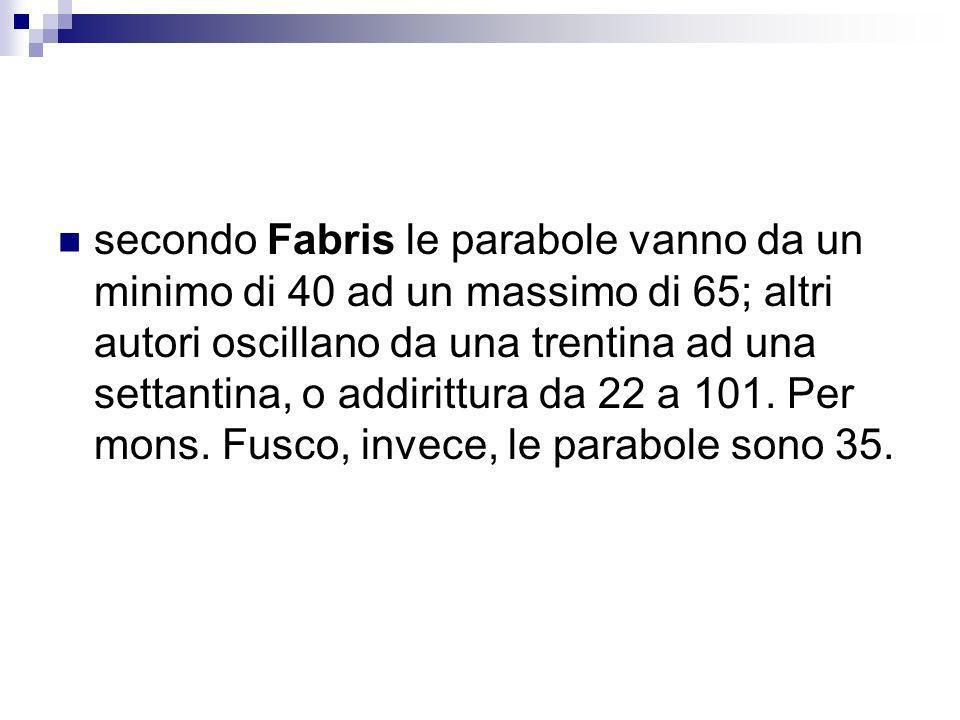 secondo Fabris le parabole vanno da un minimo di 40 ad un massimo di 65; altri autori oscillano da una trentina ad una settantina, o addirittura da 22