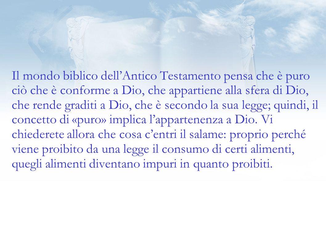 Il mondo biblico dellAntico Testamento pensa che è puro ciò che è conforme a Dio, che appartiene alla sfera di Dio, che rende graditi a Dio, che è secondo la sua legge; quindi, il concetto di «puro» implica lappartenenza a Dio.