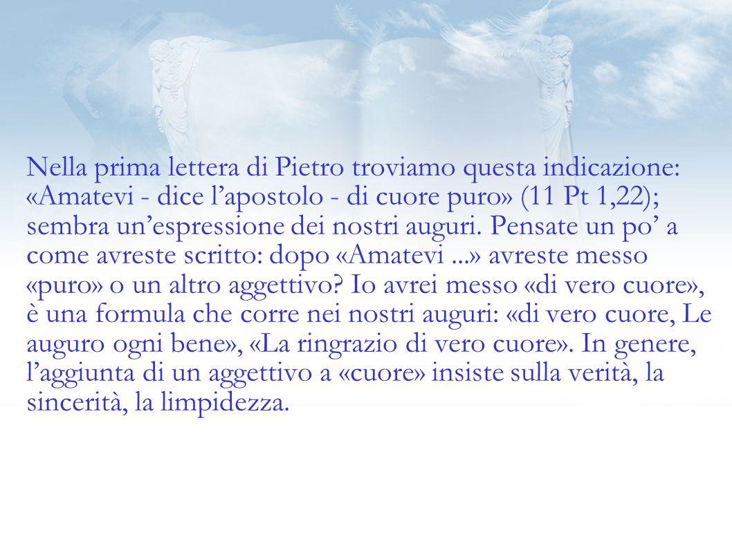 Nella prima lettera di Pietro troviamo questa indicazione: «Amatevi - dice lapostolo - di cuore puro» (11 Pt 1,22); sembra unespressione dei nostri auguri.