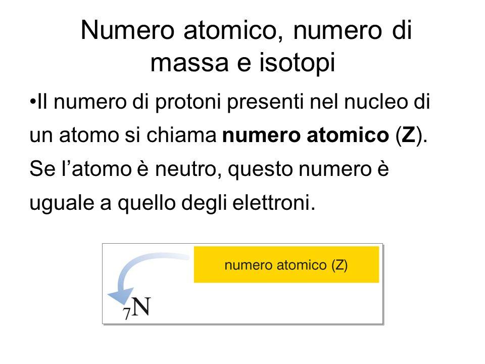 Numero atomico, numero di massa e isotopi Il numero di massa (A) è uguale alla somma del numero di protoni (Z) e del numero di neutroni (n°) contenuti nel nucleo A = Z + n° Conoscendo il numero atomico e il numero di massa di un elemento si può calcolare il numero di neutroni contenuti nel suo nucleo n° = A - Z