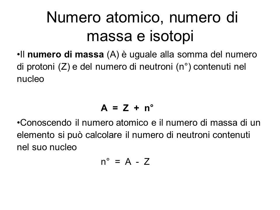 Ogni atomo è indicato da una sigla e da due numeri : il numero atomico (il numero dei protoni identico al numero degli elettroni) indicato in basso vicino al simbolo dell'elemento ed il numero di massa (il numero dei nucleoni, ovvero dei protoni e dei neutroni che costituiscono il nucleo) indicato in alto.