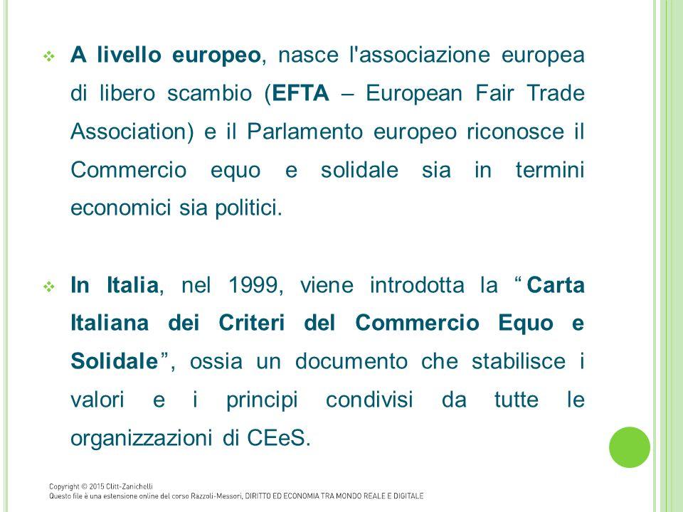  A livello europeo, nasce l'associazione europea di libero scambio (EFTA – European Fair Trade Association) e il Parlamento europeo riconosce il Comm