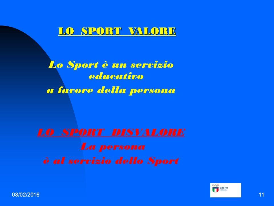 08/02/201611 Lo Sport è un servizio educativo a favore della persona LO SPORT DISVALORE La persona è al servizio dello Sport LO SPORT VALORE