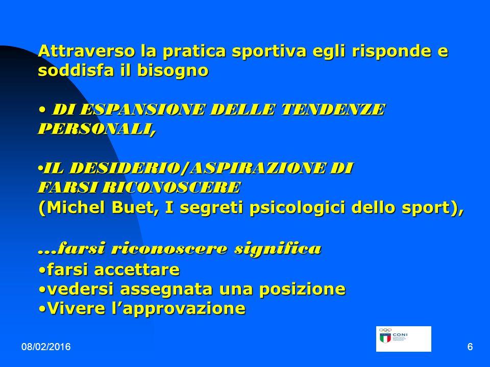 08/02/20166 Attraverso la pratica sportiva egli risponde e soddisfa il bisogno DI ESPANSIONE DELLE TENDENZE PERSONALI, DI ESPANSIONE DELLE TENDENZE PERSONALI, IL DESIDERIO/ASPIRAZIONE DI FARSI RICONOSCEREIL DESIDERIO/ASPIRAZIONE DI FARSI RICONOSCERE (Michel Buet, I segreti psicologici dello sport),...farsi riconoscere significa farsi accettarefarsi accettare vedersi assegnata una posizionevedersi assegnata una posizione Vivere l'approvazioneVivere l'approvazione