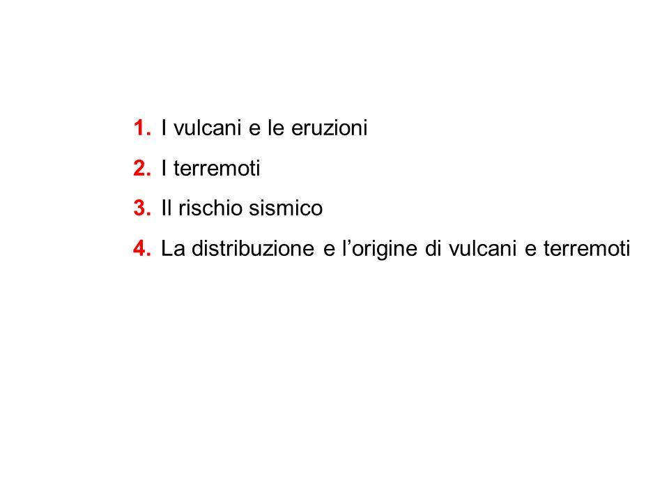 1.I vulcani e le eruzioni 2.I terremoti 3.Il rischio sismico 4.La distribuzione e l'origine di vulcani e terremoti