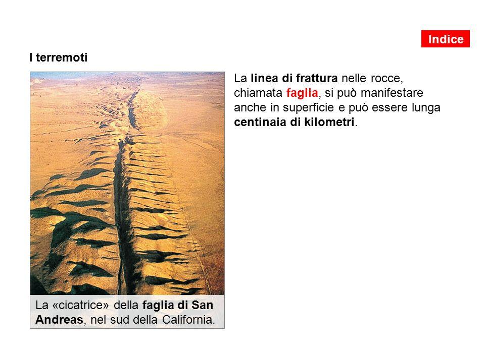 I terremoti La linea di frattura nelle rocce, chiamata faglia, si può manifestare anche in superficie e può essere lunga centinaia di kilometri.