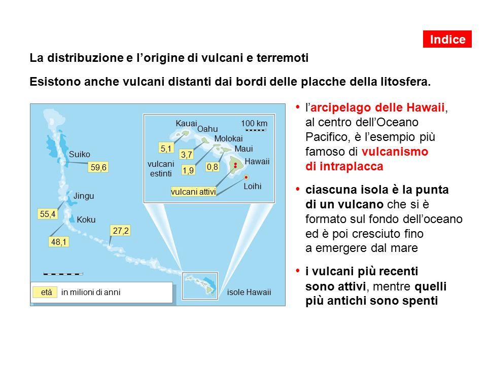 La distribuzione e l'origine di vulcani e terremoti Esistono anche vulcani distanti dai bordi delle placche della litosfera.
