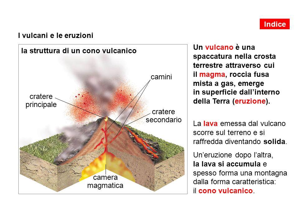 I vulcani e le eruzioni Un vulcano è una spaccatura nella crosta terrestre attraverso cui il magma, roccia fusa mista a gas, emerge in superficie dall'interno della Terra (eruzione).