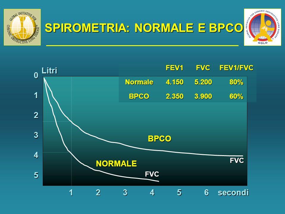 SPIROMETRIA: NORMALE E BPCO 5 0 1 2 3 4 123456 FVC FVC BPCO NORMALE secondiLitri FEV1FVCFEV1/FVCNormale4.1505.20080% BPCO2.3503.90060%