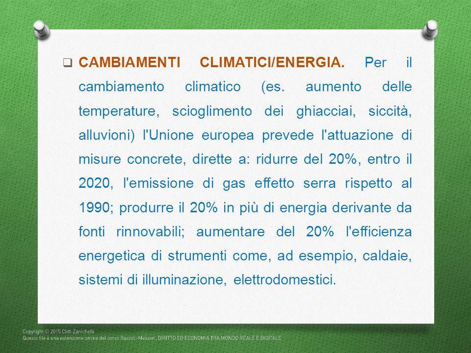  CAMBIAMENTI CLIMATICI/ENERGIA. Per il cambiamento climatico (es. aumento delle temperature, scioglimento dei ghiacciai, siccità, alluvioni) l'Unione