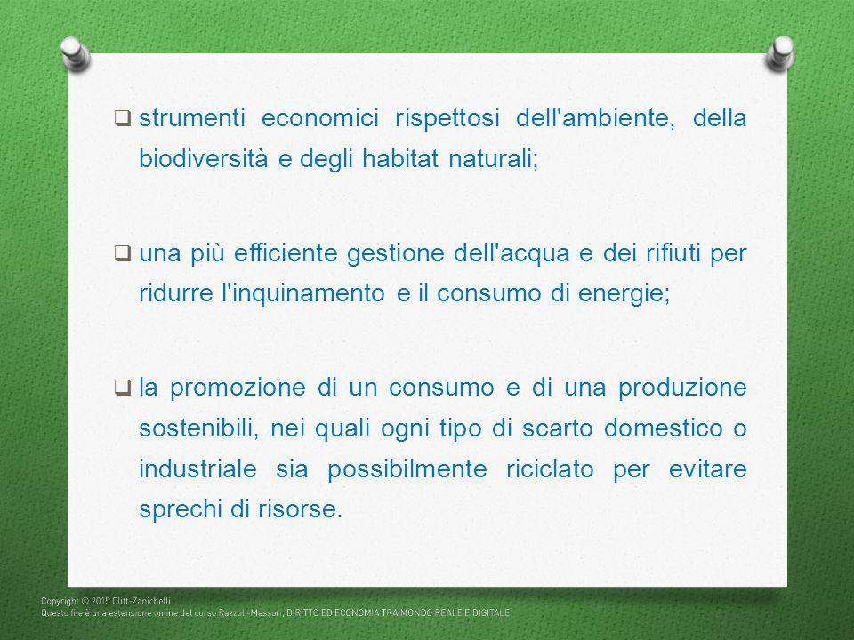  strumenti economici rispettosi dell'ambiente, della biodiversità e degli habitat naturali;  una più efficiente gestione dell'acqua e dei rifiuti pe