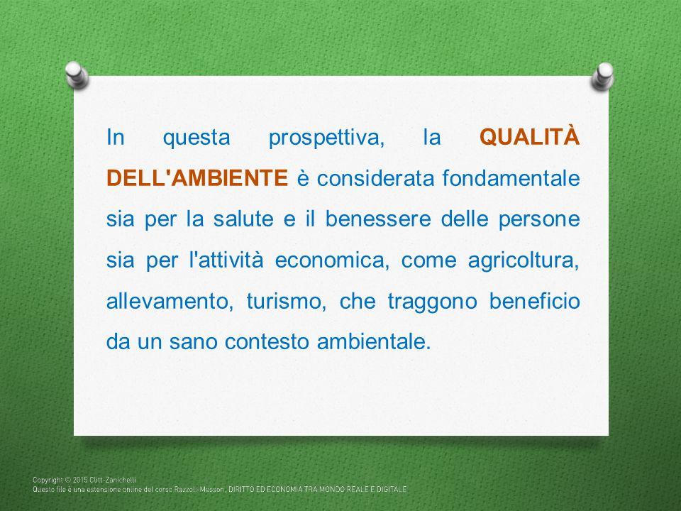In questa prospettiva, la QUALITÀ DELL'AMBIENTE è considerata fondamentale sia per la salute e il benessere delle persone sia per l'attività economica