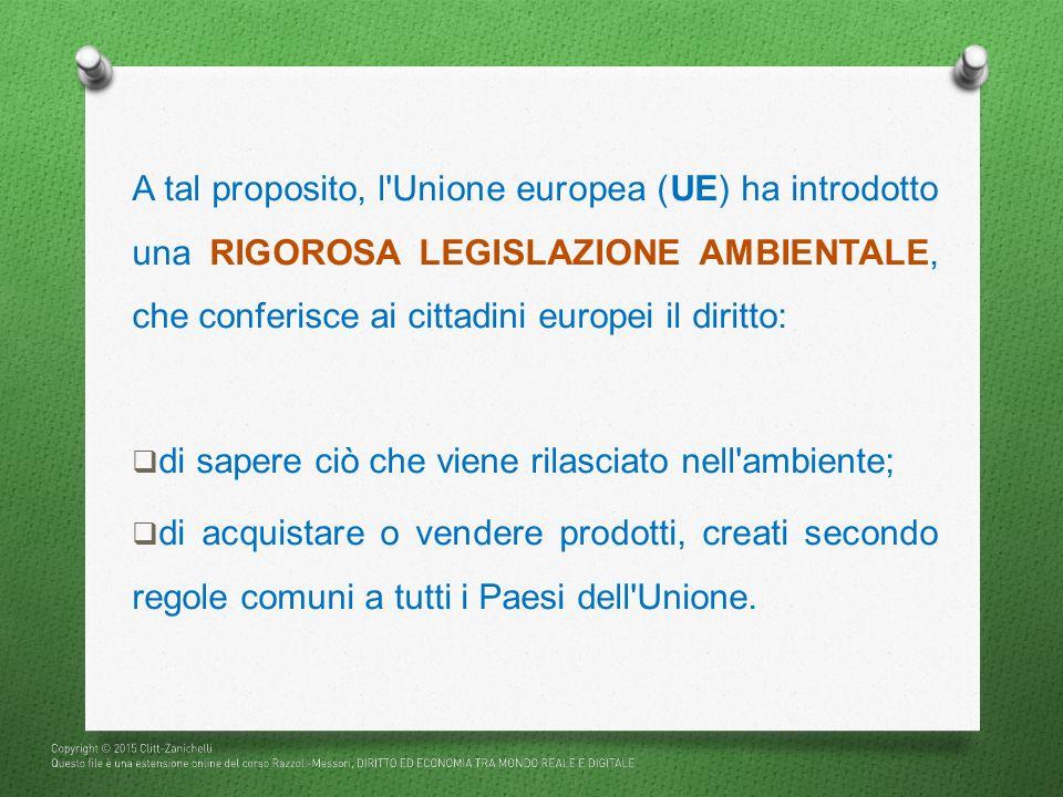 A tal proposito, l'Unione europea (UE) ha introdotto una RIGOROSA LEGISLAZIONE AMBIENTALE, che conferisce ai cittadini europei il diritto:  di sapere