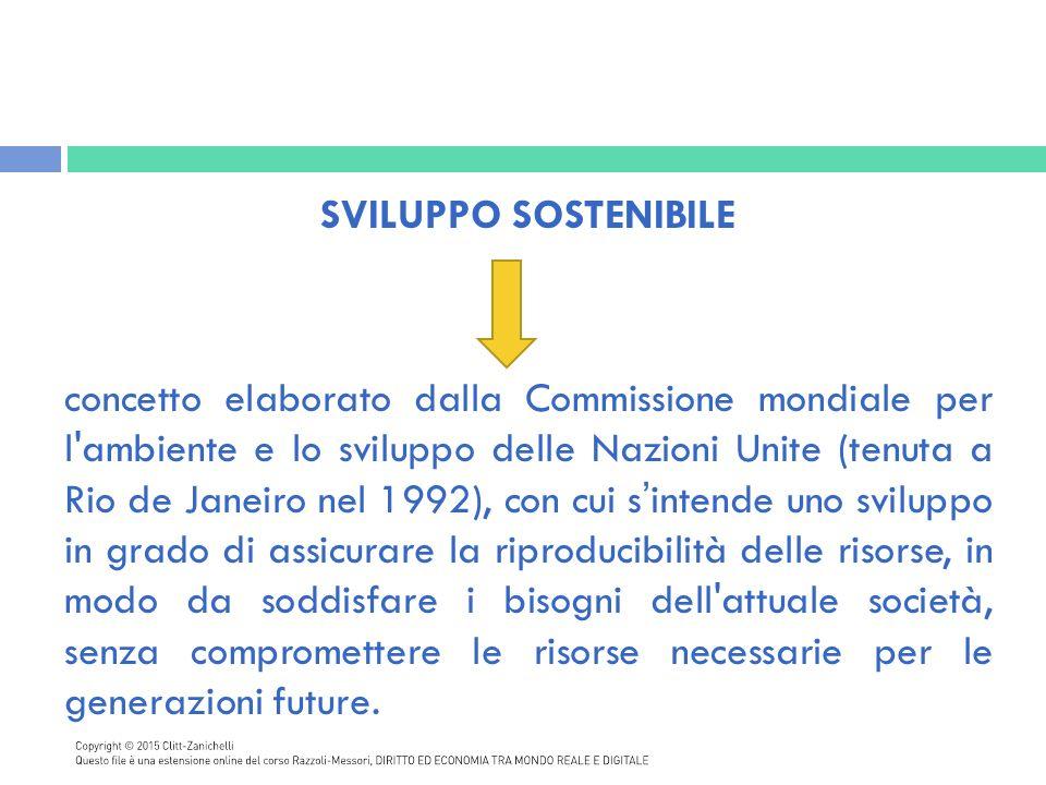 Il concetto di sostenibilità è collegato:  alle strategie produttive, come le imprese della green economy, che investono in eco-innovazioni per processi produttivi a basso impatto ambientale, comportando lo sviluppo di nuove filiere green, il rafforzamento di quelle esistenti e la riqualificazione dei settori industriali tradizionali;