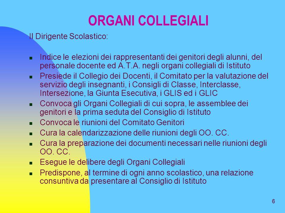 6 ORGANI COLLEGIALI Il Dirigente Scolastico: Indice le elezioni dei rappresentanti dei genitori degli alunni, del personale docente ed A.T.A.
