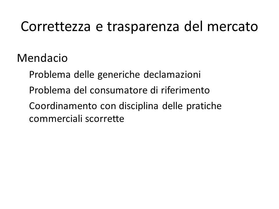 Correttezza e trasparenza del mercato Mendacio Problema delle generiche declamazioni Problema del consumatore di riferimento Coordinamento con disciplina delle pratiche commerciali scorrette