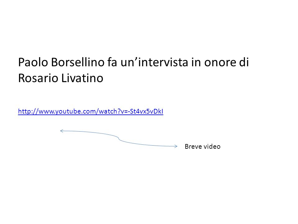 Paolo Borsellino fa un'intervista in onore di Rosario Livatino http://www.youtube.com/watch?v=-St4vx5vDkI Breve video