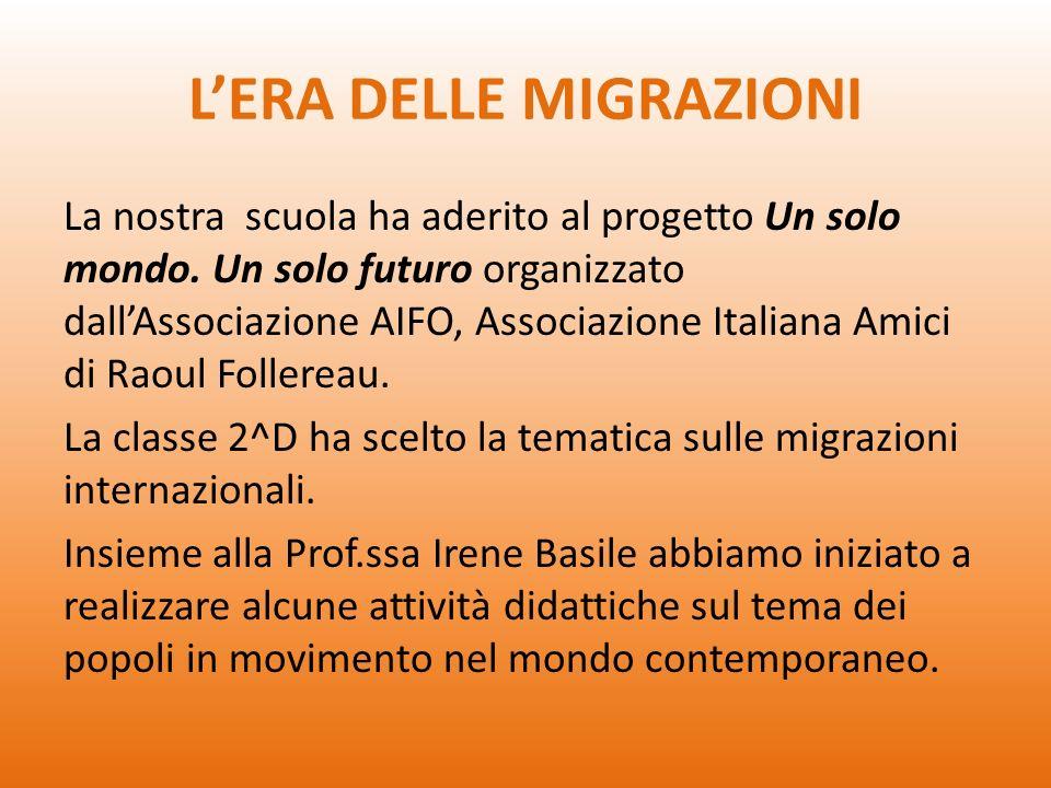 BRAINSTORMING La prima attività ha riguardato le nostre riflessioni (pregiudizi?) sulle migrazioni e sulla figura del migrante.