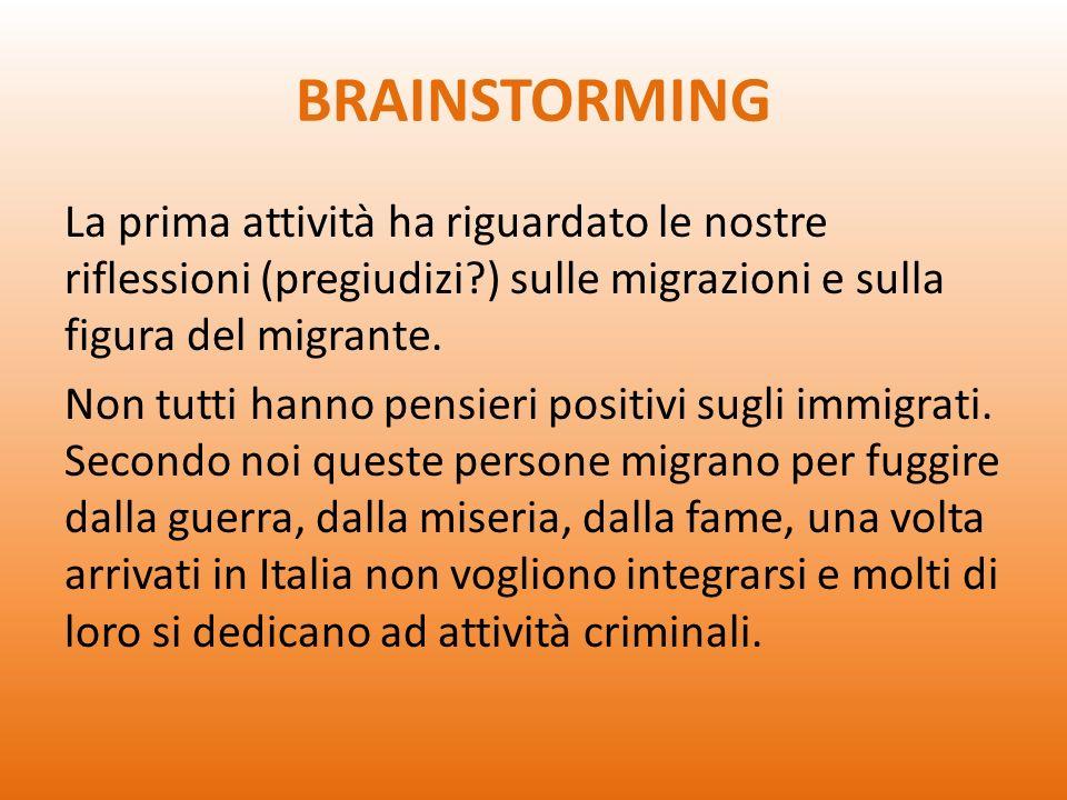 BRAINSTORMING La prima attività ha riguardato le nostre riflessioni (pregiudizi ) sulle migrazioni e sulla figura del migrante.