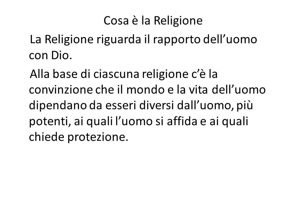 Cosa è la Religione La Religione riguarda il rapporto dell'uomo con Dio.