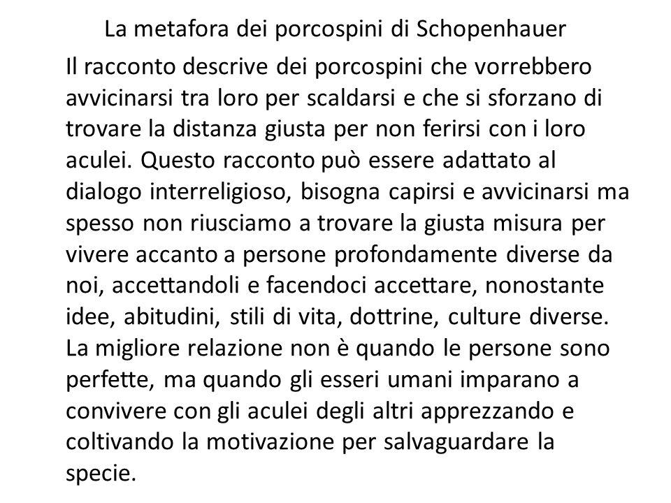 La metafora dei porcospini di Schopenhauer Il racconto descrive dei porcospini che vorrebbero avvicinarsi tra loro per scaldarsi e che si sforzano di trovare la distanza giusta per non ferirsi con i loro aculei.