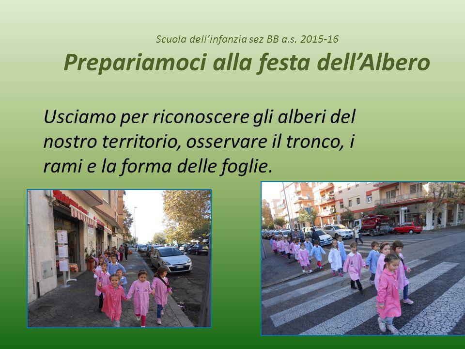 Scuola dell'infanzia sez BB a.s. 2015-16 Prepariamoci alla festa dell'Albero Usciamo per riconoscere gli alberi del nostro territorio, osservare il tr