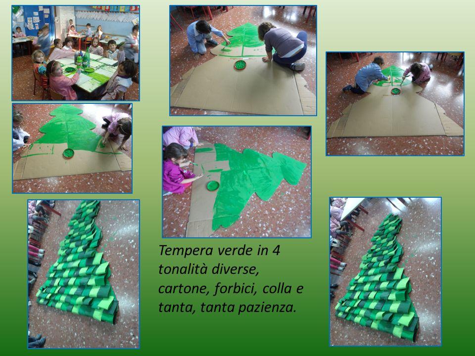 Tempera verde in 4 tonalità diverse, cartone, forbici, colla e tanta, tanta pazienza.