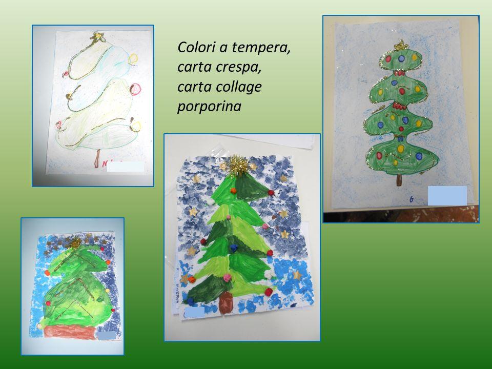 Colori a tempera, carta crespa, carta collage porporina