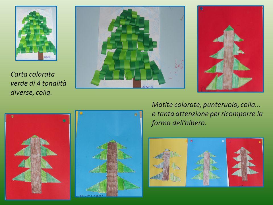 Carta colorata verde di 4 tonalità diverse, colla. Matite colorate, punteruolo, colla... e tanta attenzione per ricomporre la forma dell'albero.