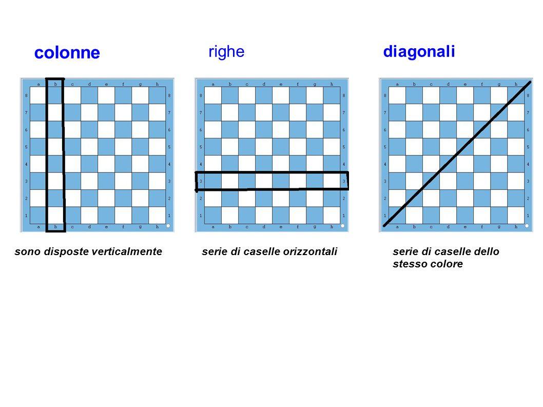 colonne righediagonali sono disposte verticalmente serie di caselle orizzontaliserie di caselle dello stesso colore