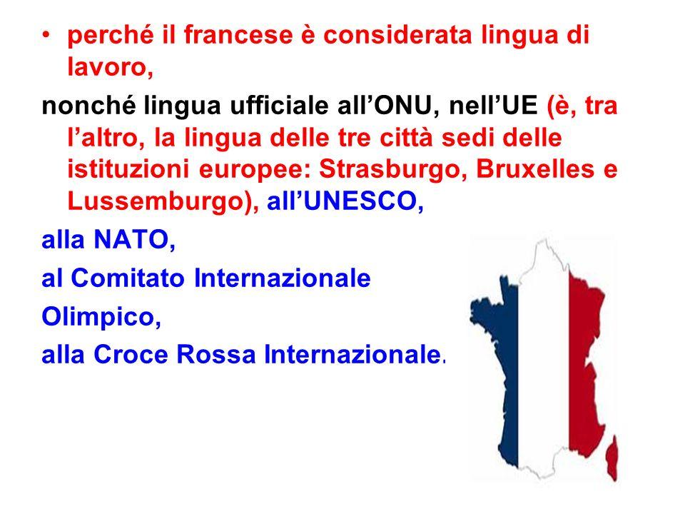 perché il francese è considerata lingua di lavoro, nonché lingua ufficiale all'ONU, nell'UE (è, tra l'altro, la lingua delle tre città sedi delle istituzioni europee: Strasburgo, Bruxelles e Lussemburgo), all'UNESCO, alla NATO, al Comitato Internazionale Olimpico, alla Croce Rossa Internazionale.