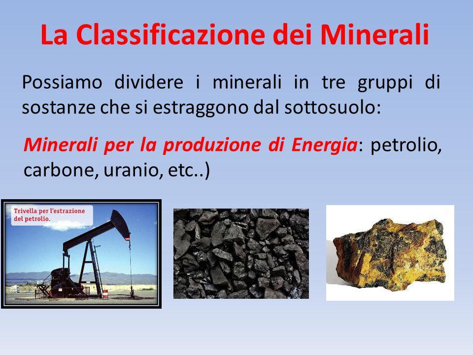 La Classificazione dei Minerali Possiamo dividere i minerali in tre gruppi di sostanze che si estraggono dal sottosuolo: Minerali per la produzione di