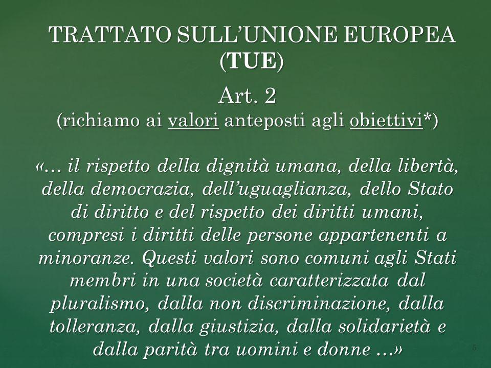 TRATTATO SULL'UNIONE EUROPEA ( TUE ) Art.