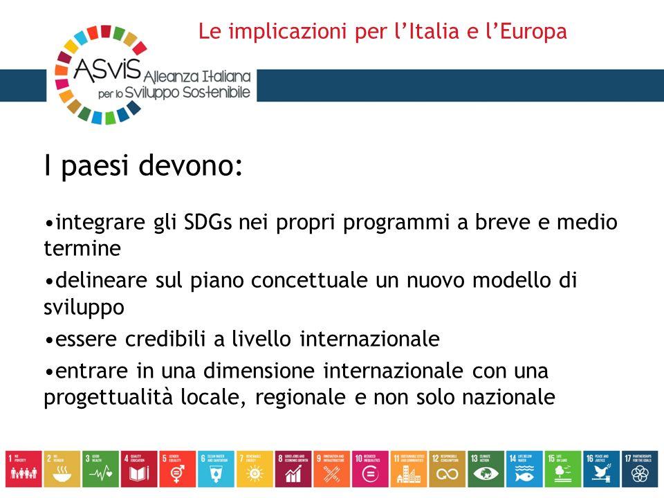 I paesi devono: integrare gli SDGs nei propri programmi a breve e medio termine delineare sul piano concettuale un nuovo modello di sviluppo essere credibili a livello internazionale entrare in una dimensione internazionale con una progettualità locale, regionale e non solo nazionale Le implicazioni per l'Italia e l'Europa
