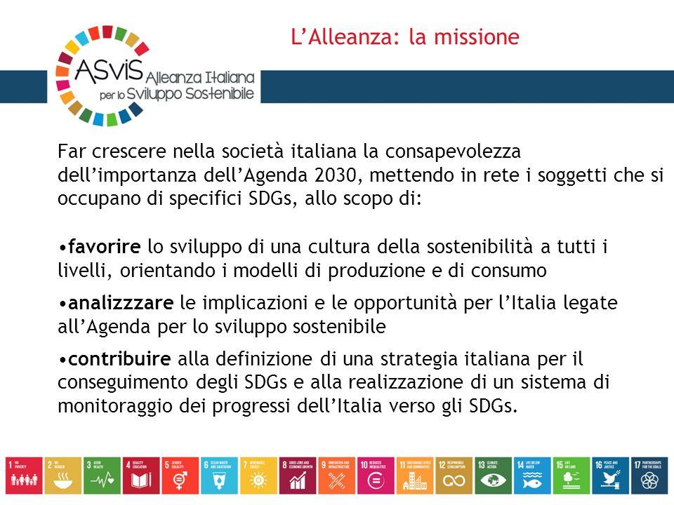 Far crescere nella società italiana la consapevolezza dell'importanza dell'Agenda 2030, mettendo in rete i soggetti che si occupano di specifici SDGs, allo scopo di: favorire lo sviluppo di una cultura della sostenibilità a tutti i livelli, orientando i modelli di produzione e di consumo analizzzare le implicazioni e le opportunità per l'Italia legate all'Agenda per lo sviluppo sostenibile contribuire alla definizione di una strategia italiana per il conseguimento degli SDGs e alla realizzazione di un sistema di monitoraggio dei progressi dell'Italia verso gli SDGs.