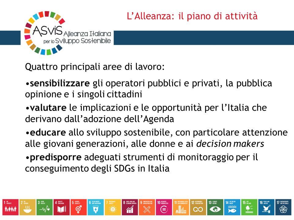 Quattro principali aree di lavoro: sensibilizzare gli operatori pubblici e privati, la pubblica opinione e i singoli cittadini valutare le implicazion