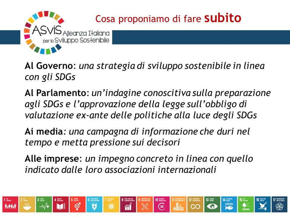 Al Governo: una strategia di sviluppo sostenibile in linea con gli SDGs Al Parlamento: un'indagine conoscitiva sulla preparazione agli SDGs e l'approvazione della legge sull'obbligo di valutazione ex-ante delle politiche alla luce degli SDGs Ai media: una campagna di informazione che duri nel tempo e metta pressione sui decisori Alle imprese: un impegno concreto in linea con quello indicato dalle loro associazioni internazionali Cosa proponiamo di fare subito