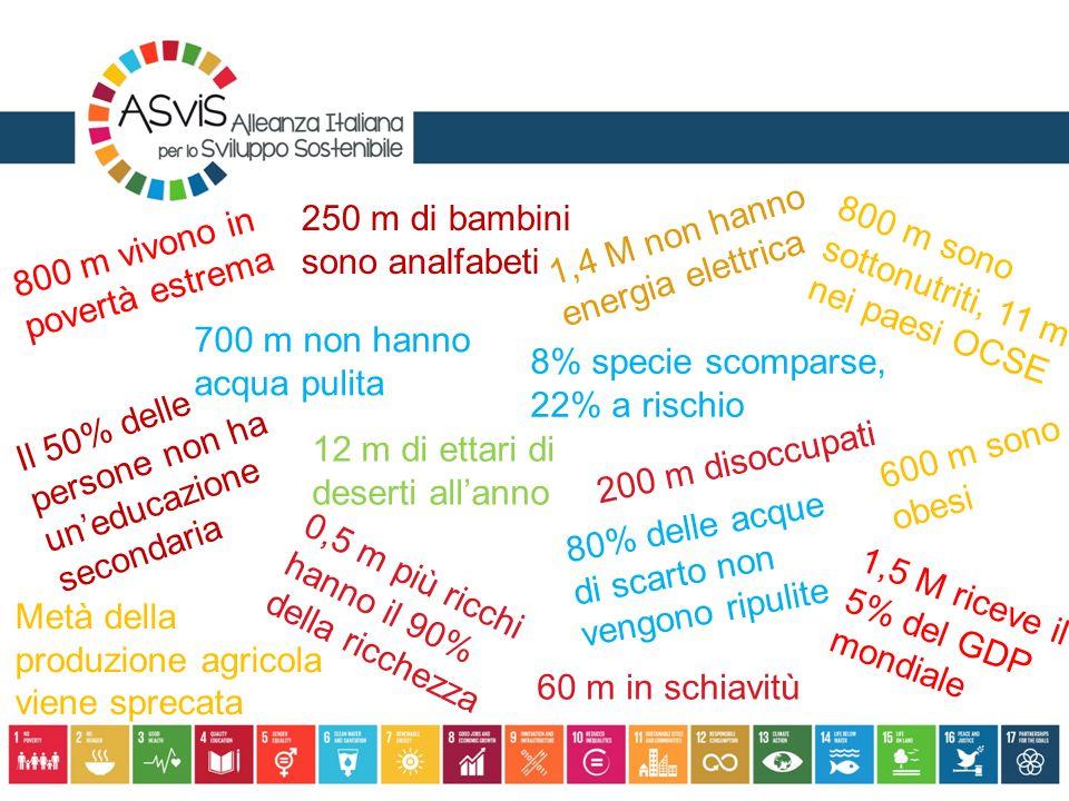 800 m vivono in povertà estrema 1,5 M riceve il 5% del GDP mondiale 250 m di bambini sono analfabeti Il 50% delle persone non ha un'educazione seconda