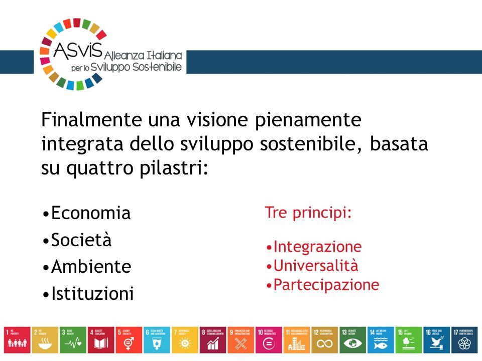 Finalmente una visione pienamente integrata dello sviluppo sostenibile, basata su quattro pilastri: Economia Società Ambiente Istituzioni Tre principi: Integrazione Universalità Partecipazione