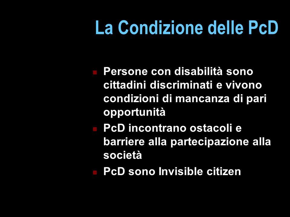 La Condizione delle PcD Persone con disabilità sono cittadini discriminati e vivono condizioni di mancanza di pari opportunità PcD incontrano ostacoli e barriere alla partecipazione alla società PcD sono Invisible citizen