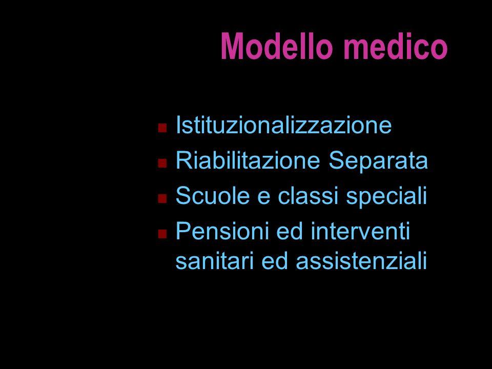 Modello medico Istituzionalizzazione Riabilitazione Separata Scuole e classi speciali Pensioni ed interventi sanitari ed assistenziali